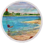 Ponce Inlet Lighthouse Round Beach Towel