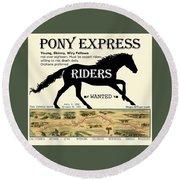 Pony Express Want Ad Round Beach Towel