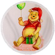 Pooh Bear 2 Round Beach Towel