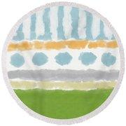 Poolside 3- Art By Linda Woods Round Beach Towel
