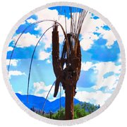 Round Beach Towel featuring the photograph Poor Pretty Saguaro by Judy Kennedy