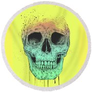 Pop Art Skull Round Beach Towel