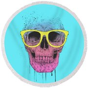 Pop Art Skull With Glasses Round Beach Towel