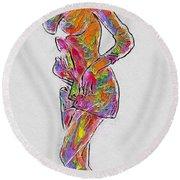 Pop Art Woman Round Beach Towel