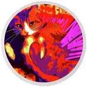 Pop Cat Tiger Round Beach Towel