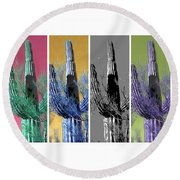 Pop Saguaro Cactus Round Beach Towel