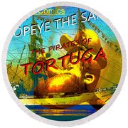 Popeye And The Pirates Of Tortuga Comic Book Cover Art Round Beach Towel