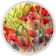 Poppies Bathing In The Sun Round Beach Towel