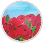Poppy Parade Round Beach Towel