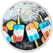Popsicles And Fireworks Round Beach Towel