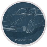 Porsche 959 - Blueprint Round Beach Towel