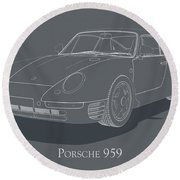 Porsche 959 - White Blueprint On Grey Round Beach Towel