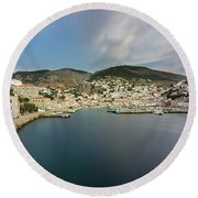 Port At Hydra Island Round Beach Towel