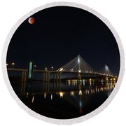 Port Mann Bridge With Blood Moon Round Beach Towel