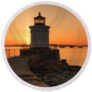 Portland Breakwater Lighthouse - Portland Harbor, Maine Round Beach Towel