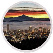 Portland Foggy Sunrise Round Beach Towel