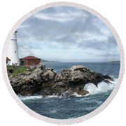 Portland Head Light House Round Beach Towel