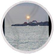Portland Head Lighthouse Through The Gun Port Round Beach Towel