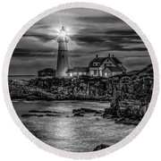 Portland Lighthouse 7363 Round Beach Towel