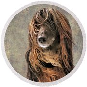 Portrait Of An Afghan Hound Round Beach Towel