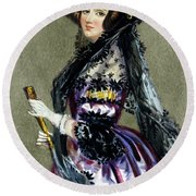 Portrait Of Augusta Ada King,countess Of Lovelace Round Beach Towel