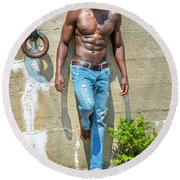 Portrait Of  Young Black Fitness Guy Round Beach Towel