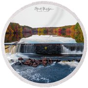 Round Beach Towel featuring the photograph Power Of The Shetucket by Michael Hughes