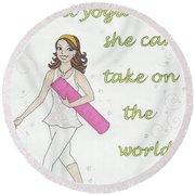 Power Of Yoga Mat Round Beach Towel