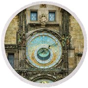 Round Beach Towel featuring the photograph Prague Clock by Steven Sparks