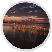 Pre-dawn Pier Glow Round Beach Towel