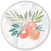 Pretty Coral Roses 2- Art By Linda Woods Round Beach Towel