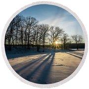 Pretty Winter Sun Rise Scene Round Beach Towel