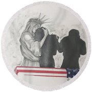 Price Of Liberty Round Beach Towel