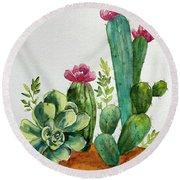 Prickly Cactus Round Beach Towel