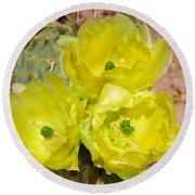 Prickly Pear Cactus Trio Bloom Round Beach Towel