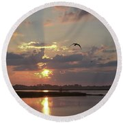 Round Beach Towel featuring the photograph Prime Hook Sunrise 1 by Buddy Scott