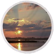 Round Beach Towel featuring the photograph Prime Hook Sunrise 2 by Buddy Scott