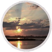 Round Beach Towel featuring the photograph Prime Hook Sunrise 3 by Buddy Scott