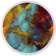 Round Beach Towel featuring the painting Proverbs 12 25. A Good Word by Mark Lawrence