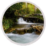 Round Beach Towel featuring the photograph Provo Deer Creek Cascades by TL Mair