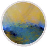 Round Beach Towel featuring the painting Psalm 100 4. With Thanksgiving by Mark Lawrence