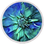 Psychedelic Blues Round Beach Towel