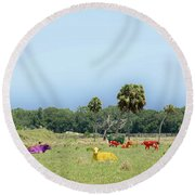 Psychedelic Cows Round Beach Towel