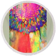Psychedelic Daisy Round Beach Towel