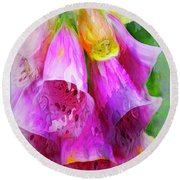 Psychedellic Pinkbells Round Beach Towel