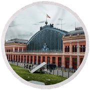 Puerta De Atocha Railway Station Round Beach Towel