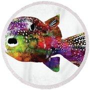 Puffer Fish Watercolor Round Beach Towel
