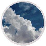 Puffy White Clouds Round Beach Towel