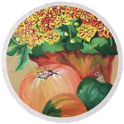 Pumpkin With Flowers Round Beach Towel