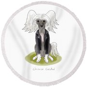 Punk Rock Chinese Crested Round Beach Towel